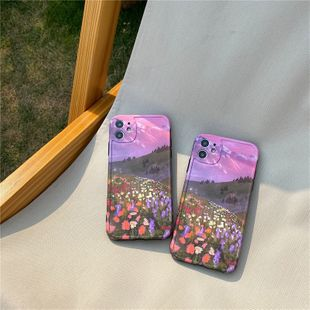 purple oil painting flower field mobile phone shell for iphone se2/11Promax/P40pro soft shell wholesale nihaojewelry NHFI233354's discount tags