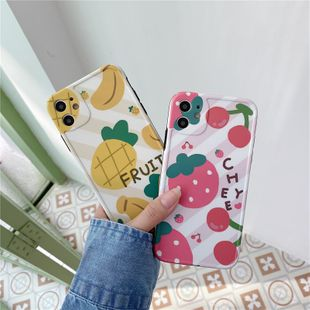 Strawberry pineapple mobile phone shell suitable for iPhone 11Pro/xs/x/8p/P40pro protective sleeve wholesale nihaojewelry NHFI233355's discount tags
