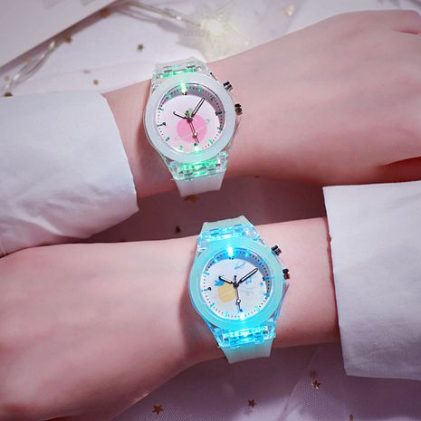 Children's watch luminous led watch trend Korean flashing silicone quartz watch wholesale nihaojewelry NHSS233364's discount tags