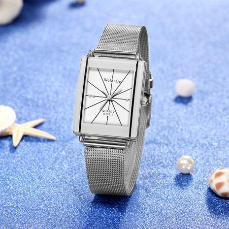 Fashion line diamond-set couple watch trend rhinestone rectangular table head silver belt watch wholesale nihaojewelry NHSS233365's discount tags