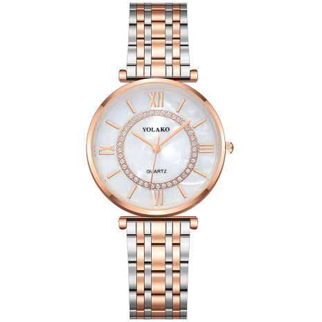 Fashion Ladies Watch Alloy Steel Band Inlaid Diamond Simple Roman Scale Women's Watch wholesale nihaojewelry NHSY233366's discount tags