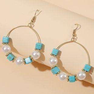 fashion new  handmade geometric pearl stone personality beaded earrings nihaojewelry wholesale  NHLA233371's discount tags