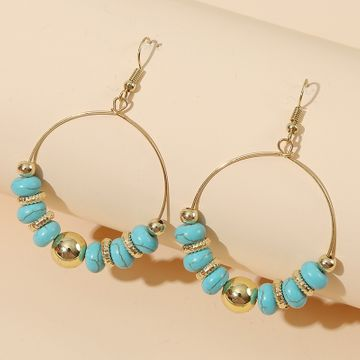 Simple geometric round handmade beaded turquoise  personality stone earrings jewelry nihaojewelry wholesale NHLA233373