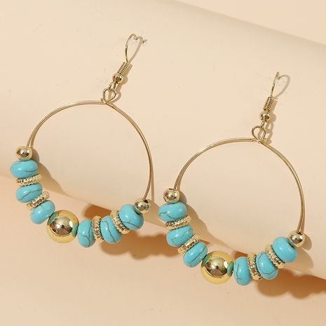 Simple geometric round handmade beaded turquoise  personality stone earrings jewelry nihaojewelry wholesale NHLA233373's discount tags