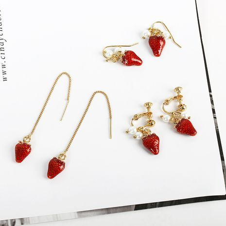 new fashion hot sale Sweet  cute fashion  strawberry soft  long earrings nihaojewelry wholesale  NHDP233400's discount tags