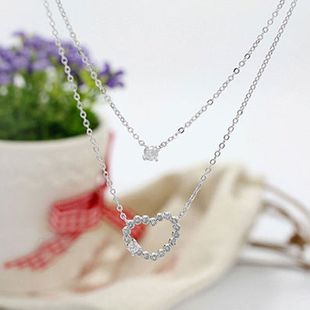 Korean jewelry ladies double heart-shaped shiny rhinestone necklace clavicle chain sweater chain wholesale nihaojewelry NHDP233403's discount tags