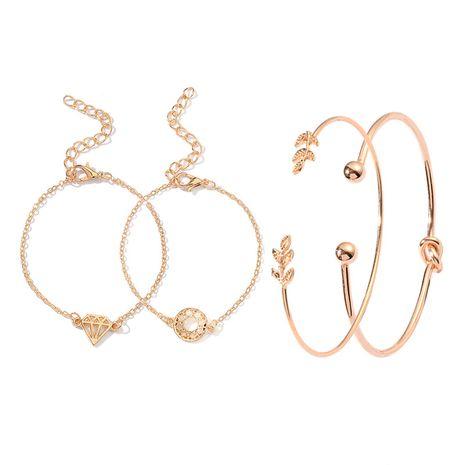 créatif nouveau ensemble de bijoux feuilles diamant noué bracelet d'ouverture quatre pièces costume bijoux chauds en gros nihaojewelry NHDP233405's discount tags