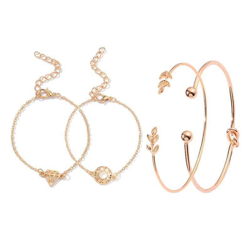 creative new jewelry set leaves diamond knotted opening bracelet four-piece suit hot jewelry wholesale nihaojewelry NHDP233405