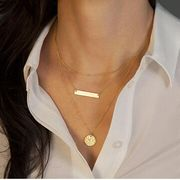 fashion style jewelry geometric metal sequins multilayer shorts necklace hot new women wholesale nihaojewelry NHDP233406