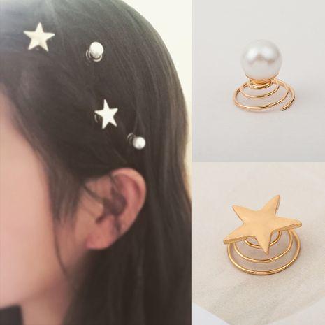 Coréenne bijoux simples or étoile à cinq branches printemps clip perle spirale clip mariée épingle à cheveux en gros nihaojewelry NHDP233407's discount tags