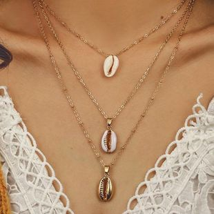 Bohemian multi-layer necklace fashion three-layer natural shell pendant necklace wholesale nihaojewelry NHDP233409's discount tags