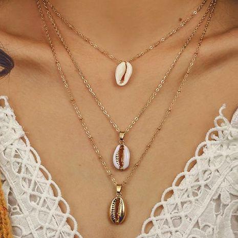 Bohemia collar de múltiples capas de moda de tres capas collar de concha natural colgante al por mayor nihaojewelry NHDP233409's discount tags