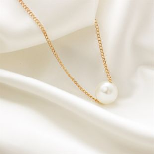 Simple Pearl Ball Short Necklace Korean Star Simple Clothing Clavicle Chain wholesale nihaojewelry NHDP233417's discount tags