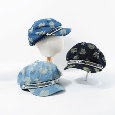 Hat blue denim beret British retro summer embroidery wholesale nihaojewerly NHTQ233450's discount tags