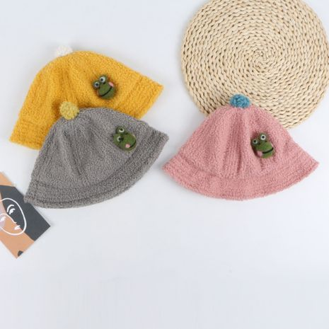 Frog plush fisherman hat new solid color warm basin hat baby hat Korean baby basin hat wholesale NHTQ233458's discount tags