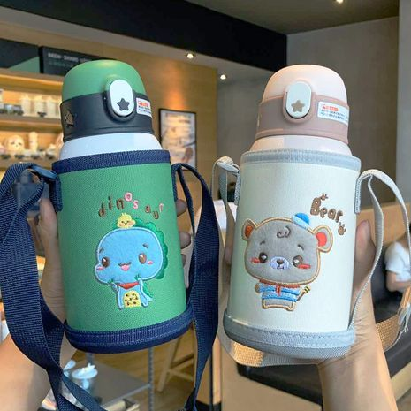 316 stainless steel mug cartoon printing anti-fall children with straws drinking double wholesale nihaojewelry NHtn233470's discount tags
