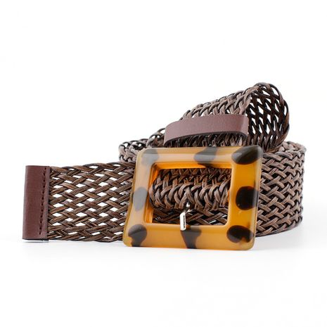 New woven wide belt ladies fashion leopard pattern yellow buckle decorative belt wholesale nihaojewelry NHPO233490's discount tags