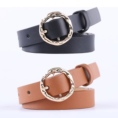 creative round buckle ladies belt fashion decorative dress thin belt wholesale nihaojewelry NHPO233492's discount tags