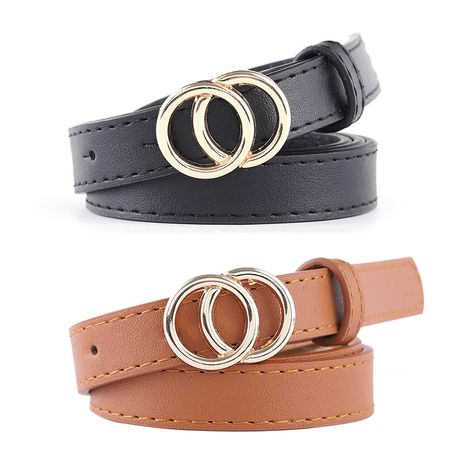 new ladies thin belt fashion casual decoration jeans belt double round buckle wholesale nihaojewelry NHPO233493's discount tags