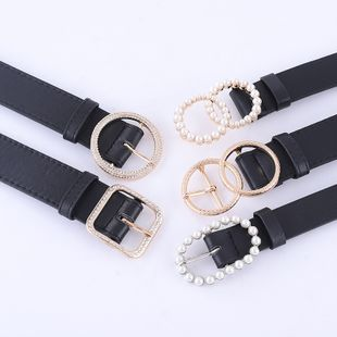 Fashionable combination ladies black belt inlaid rhinestone pearl buckle high-end belt spot wholesale nihaojewelry NHPO233495's discount tags