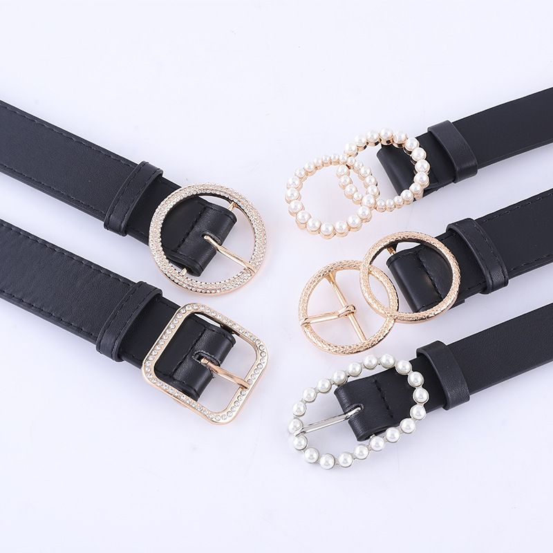 Fashionable combination ladies black belt inlaid rhinestone pearl buckle high-end belt spot wholesale nihaojewelry NHPO233495