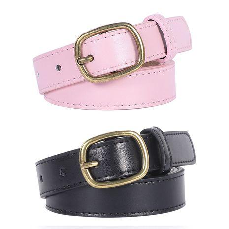 New bronze buckle ladies retro belt fashion decoration jeans ladies belt wholesale nihaojewelry NHPO233497's discount tags