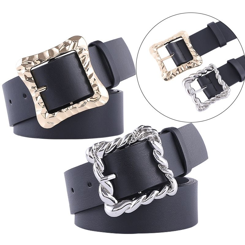 new fashion black wide belt retro combination gold and silver buckle geometric square buckle concave belt wholesale nihaojewelry NHPO233499