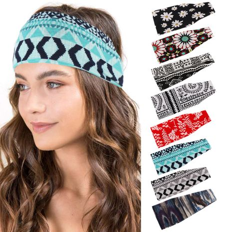 multicolor striped cotton hair bandana soft yoga sports elastic headband wholesale nihaojewerly NHHV233525's discount tags