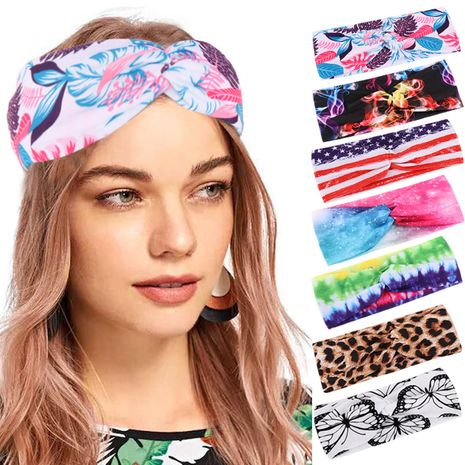 multicolor butterfly cotton hair band hair bandana soft yoga sports elastic headband wholesale nihaojewelry NHHV233527's discount tags