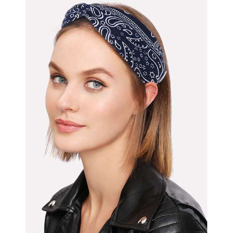 Bohemian cashew printed hair band wash face bundle hair headband cross wide edge wholesale nihaojewelry NHHV233529