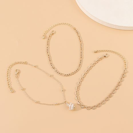 Korean new fashion creative exaggerated wild personality shell anklet suit nihaojewelry wholesale  NHPS233534's discount tags