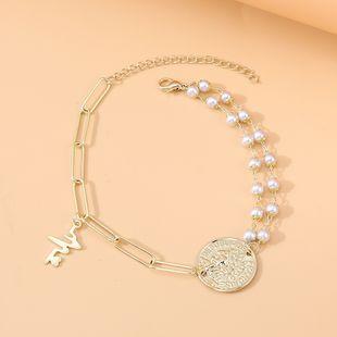 fashion korean  retro Roman head pearl anklet nihaojewelry wholesale  NHPS233544's discount tags