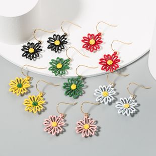 Super fairy forest flowers small daisies white yellow flower earrings  nihaojewelry wholesale  NHLN233564's discount tags
