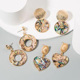 hot fashion round heart-shaped earrings color resin alloy earrings ear jewelry wholesale nihaojewelry NHLN233565's discount tags