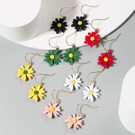 Korea hot daisy earrings asymmetric contrast color alloy flower earrings wholesale nihaojewelry NHLN233567's discount tags