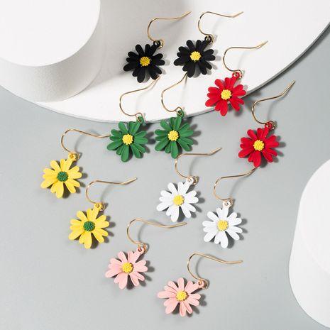 Korea hot daisy earrings asymmetric contrast color alloy flower earrings wholesale nihaojewelry NHLN233567's discount tags