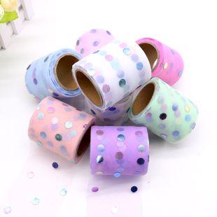 6CM Korean colorful dot mesh gauze 10 yards DIY handmade bow mesh gauze accessories wholesale nihaojewelry NHUY233572's discount tags