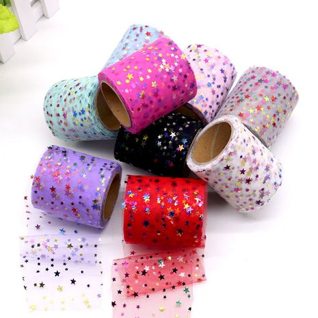 Flash colorful star yarn roll 6CM*10 yards 12 colors handmade DIY children's bow mesh wholesale nihaojewelry NHUY233574's discount tags
