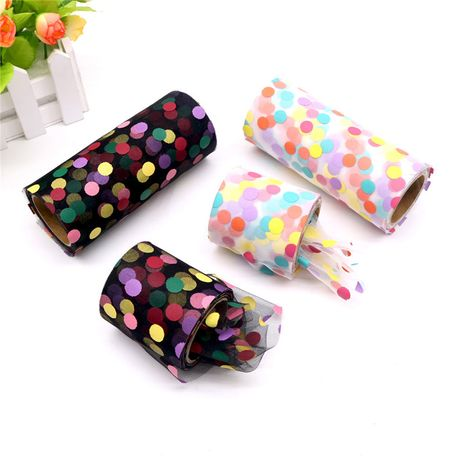 6 cm 10 yards color polka dot roll six-color wave dot roll handmade DIY bow accessories wholesale nihaojewelry NHUY233575's discount tags