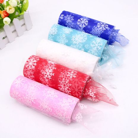 15 cm 10 yard flocking snowflake roll Christmas fabric tutu skirt roll decoration wholesale nihaojewelry NHUY233577's discount tags