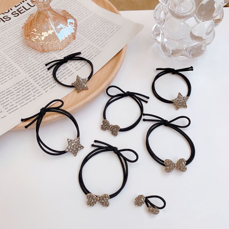 Korean bow rhinestone hair ring stars tie hair rope rubber band headdress rubber band wholesale nihaojewelry NHSM233425
