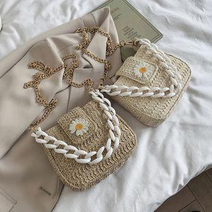 Summer straw bag new bag woven shoulder messenger bag acrylic chain bucket bag wholesale nihaojewelry NHGA233720's discount tags