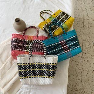 Nueva moda coreana de gran capacidad de tejido cosido bolso de color de contraste bolso de mano al por mayor nihaojewelry NHPB233745's discount tags