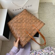 summer new style large capacity portable tote bag simple woven shopping bag shoulder bag wholesale nihaojewelry NHPB233816