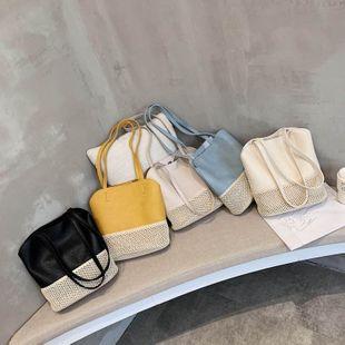 Costura y tejido de cuero suave coreano bolso de imagen de bolso de mano casual nuevo bolso de hombro de verano al por mayor nihaojewelry NHPB233835's discount tags