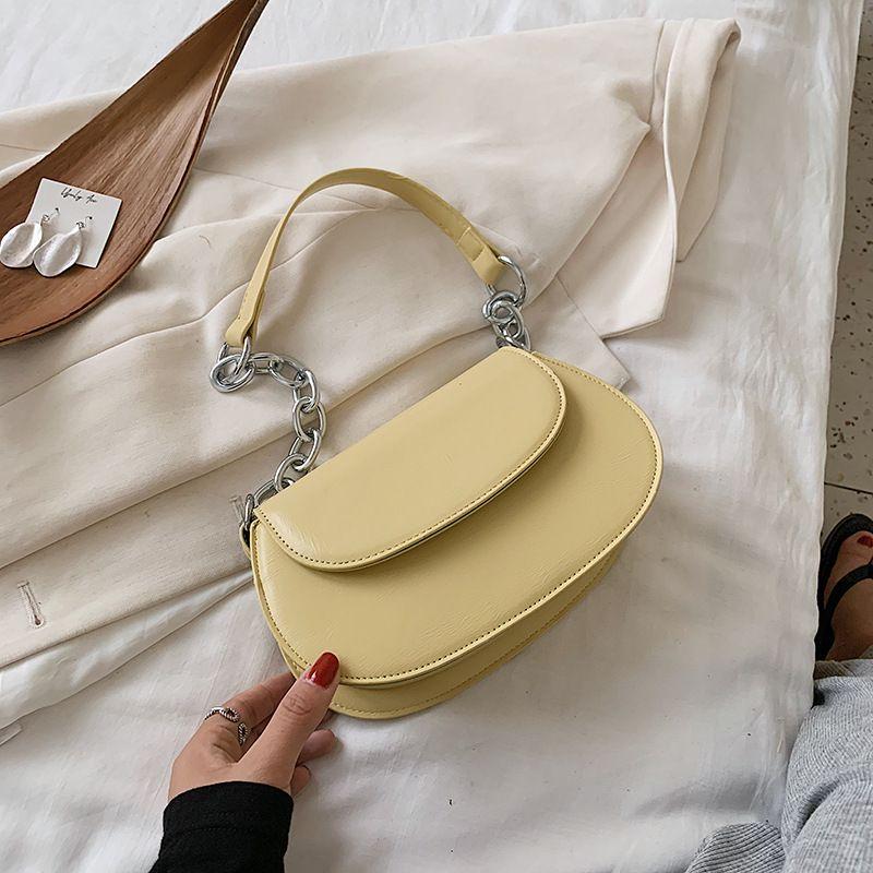 Simple fashion new retro bag solid color texture saddle bag casual shoulder bag wholesale nihaojewelry NHJZ233866