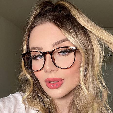 hot sale new metal ladies flat glass retro fashion frame glasses can be equipped with myopia wholesale nihaojewelry NHFY233583's discount tags