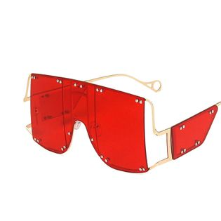 hot-selling big frame metal sunglasses new punk one-piece split mask Rihanna sunglasses wholesale nihaojewelry NHKD233599