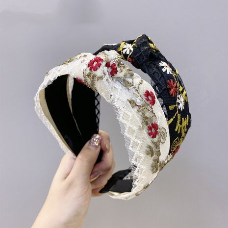 Korean boutique hair accessories embroidery small flower headband wide-edge knotted headband wholesale nihaojewelry NHSM233620's discount tags