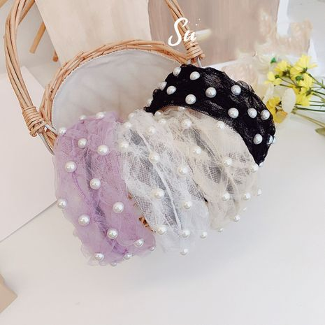 Korean pearl wide-brimmed fold headband fashion new release hair bundle wholesale nihaojewelry NHSM233628's discount tags